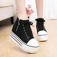 白色帆布鞋女学生韩版潮鞋内增高10cm女鞋春秋厚底松糕休闲鞋布鞋