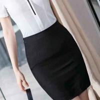 夏款短袖长袖白衬衫女韩版修身百搭工装上衣职业装工作服面试正装衬衣 简单半身裙黑色 S
