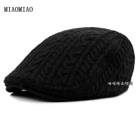 粗毛线针织麻花辫子鸭舌贝雷帽时尚前进帽子冬季加厚款前进帽子男 可调节