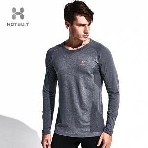 美国HOTSUIT正品男士长袖运动t恤春季吸湿排汗透气运动健身衣上衣5694003