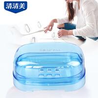 清清美塑料肥皂盒 创意沥水带盖香皂盒 大号卫生间旅行