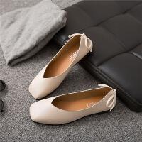 女鞋秋季大东同款韩版浅口方头复古奶奶鞋蝴蝶结英伦平底豆豆单鞋