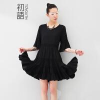 初语夏季新品 纯棉黑色喇叭袖蕾丝连衣裙女8522422024