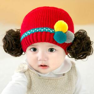货到付款 Yinbeler公主假发帽婴儿帽子秋冬季女宝宝帽子6-24个月针织毛线女童假发三毛球帽 红色
