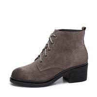 camel骆驼女鞋 秋冬新款时尚英伦风女靴高跟短筒靴系带短靴女潮