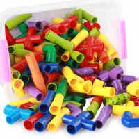 水管道积木塑料拼装插小女童男孩宝宝儿童益智玩具2-3-6周岁4-7岁