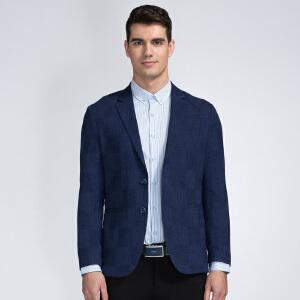 才子男装(TRIES)西服 男士2017新款时尚格纹印花修身简约百搭休闲西服上衣