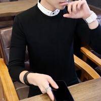 秋冬季假两件毛衣男衬衫领韩版修身潮流套头针织衫男装打底衫线衣