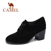 camel 骆驼女鞋 秋季新品简约英伦粗跟反绒高跟鞋 时尚系带圆头单鞋
