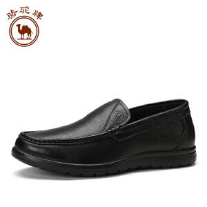 骆驼牌 秋新款休闲套脚皮鞋男士 头层纳帕摔牛皮时尚休闲