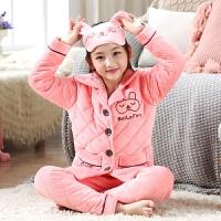 儿童睡衣女童冬季珊瑚绒男童夹棉中大童家居服小孩套装