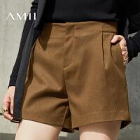 AMII[极简主义]秋冬女装新百搭纯色呢子靴裤休闲短裤11643067