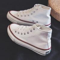 高帮帆布鞋女新款山本风街拍鞋复古港风草莓板鞋子