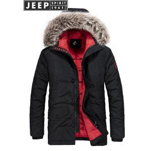 吉普JEEP棉衣棉服男2018新款男士中长款毛领外套秋冬季保暖棉袄
