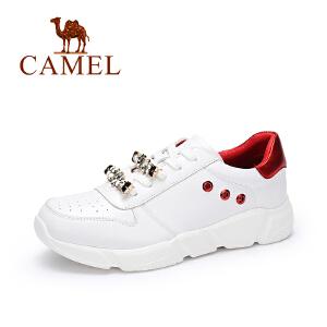 camel骆驼女鞋 秋季新款防滑舒适牛皮运动鞋女简约百搭小白鞋