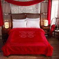 大红婚庆拉舍尔毛毯双层加厚双喜云毯结婚陪嫁毛毯子 2.0x2.3米十斤