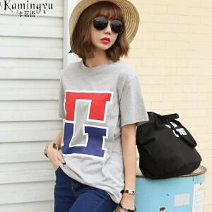 卡茗语2017夏季新款棉T几何印花短袖T恤韩版女装