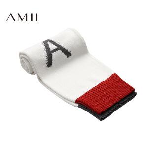 【品牌团 1件7折/2件5折】AMII[极简主义]冬百搭字母撞色针织腈棉混纺保暖围巾11684177