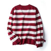 【2.5折价40元】唐狮冬装新款毛衣女款青年时尚宽条纹拼接针织毛衫毛衣