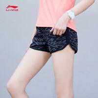 李宁运动短裤女士跑步系列反光梭织短装夏季运动裤AKSM078
