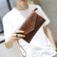 男士手包手机包钱包大长款男士手拿包 大容量手工翻盖手包韩版新款定型男包 咖啡色