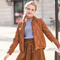 香影羽绒服女短款 2017冬新款时尚菱形纹棒球服韩版宽松显瘦外套+