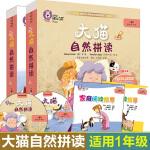 大猫自然拼读一级1+2全套2本 小学一年级 读物+阅读指导+卡片+MP3光盘+点读版 儿童读物教辅 幼儿少儿英语 英语