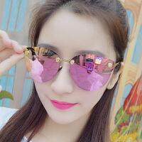 新款镶花墨镜女潮个性圆形偏光太阳镜网红眼镜女明星同款