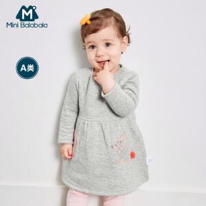 迷你巴拉巴拉婴儿圆领连衣裙秋新款女宝宝棉质长袖套头裙子