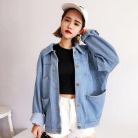 牛仔外套女春季潮2019韩版学生薄款bf宽松夹克衫秋装短款上衣 浅蓝色