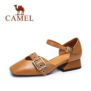 camel骆驼女鞋 春夏新款 欧美复古方头鞋 时尚异型跟低跟单鞋