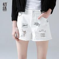[5.8上新]初语夏季新款 毛须趣味印花宽松休闲短款休闲裤