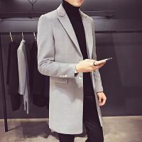 秋冬新款男中长款风衣外套时尚个性潮男毛呢大衣修身翻领风衣外衣