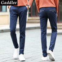 Gaddlee2017年秋冬款时尚都市男装修身简约提臀棉麻休闲长裤子