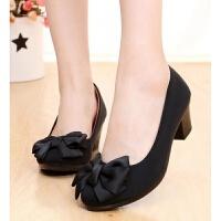 老北京布鞋女鞋坡跟中跟工作鞋高跟职业上班鞋工装黑色布鞋单鞋子 0-6 标准码