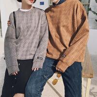男装外套2018春季韩版新品格子套头卫衣情侣装班服韩版圆领女上衣