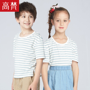 【会员节! 每满100减50】高梵2018新款儿童t恤中大童男童条纹上衣女童打底衫儿童短袖夏装