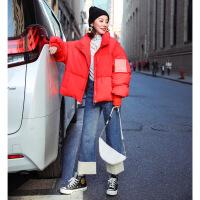 面包羽绒服女短款2018新款冬装小个子欧洲站冬款亮面韩版外套 红色