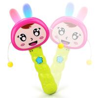 育儿宝 手摇鼓 婴幼卡通灯光早教音乐兔娃娃拨浪鼓幼儿宝宝0-2岁多功能摇铃儿童玩具用品