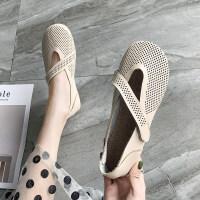 鞋子2019新款女韩版秋季镂空奶奶鞋女时尚百搭防滑豆豆鞋女单鞋女