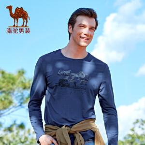 骆驼男装 2017春季新品时尚男士圆领印花长袖T恤衫青年休闲t恤男