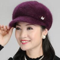 毛线帽 子女冬韩版护耳保暖帽加绒老年人帽妈妈帽婆婆帽棒球针织帽