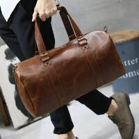 2018新款包 男士旅行包手提斜挎包休闲韩版出差单肩包行李包皮潮 咖啡色