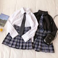 2019春夏季新款韩版学院风长袖衬衫+领带+格子百褶裙时尚三件套装