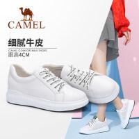 Camel/骆驼女鞋 2018春季新款 真皮鞋时尚系带平底单鞋女休闲鞋小白鞋女