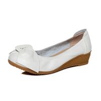 头层牛皮瓢鞋女春秋女单鞋护士鞋小白鞋坡跟工作鞋浅口小皮鞋
