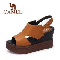 camel骆驼女鞋 春夏新款 舒适简约女鞋高跟头层牛皮女凉鞋