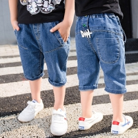 夏季男童牛仔裤儿童男裤子七分裤中大童夏装男孩童装