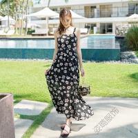 夏季沙滩裙 露背蝴蝶结绑带雪纺连衣裙吊带修身波西米亚长裙 黑色