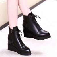 短靴女秋冬季2019新款系带马丁靴坡跟厚底短靴内增高短靴女靴子潮 黑色